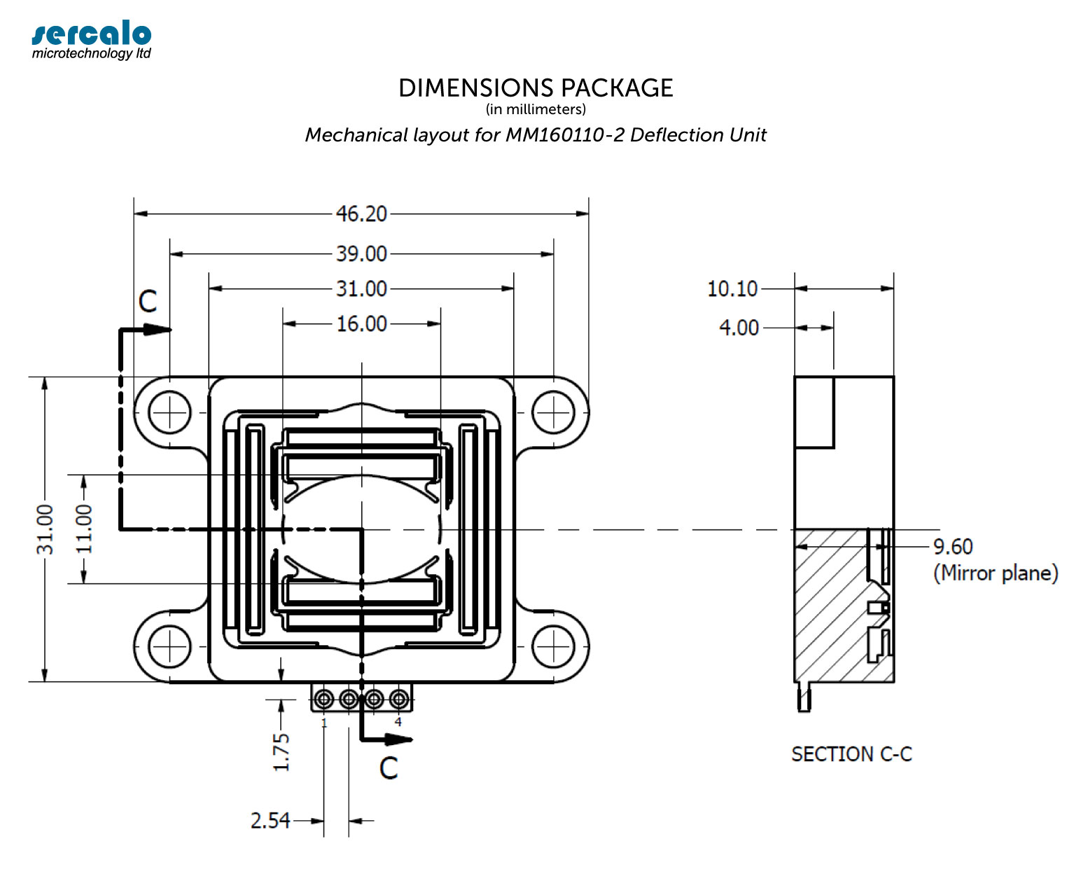 Package Dimensions - DUAL AXIS DEFLECTION UNIT MM160110-2