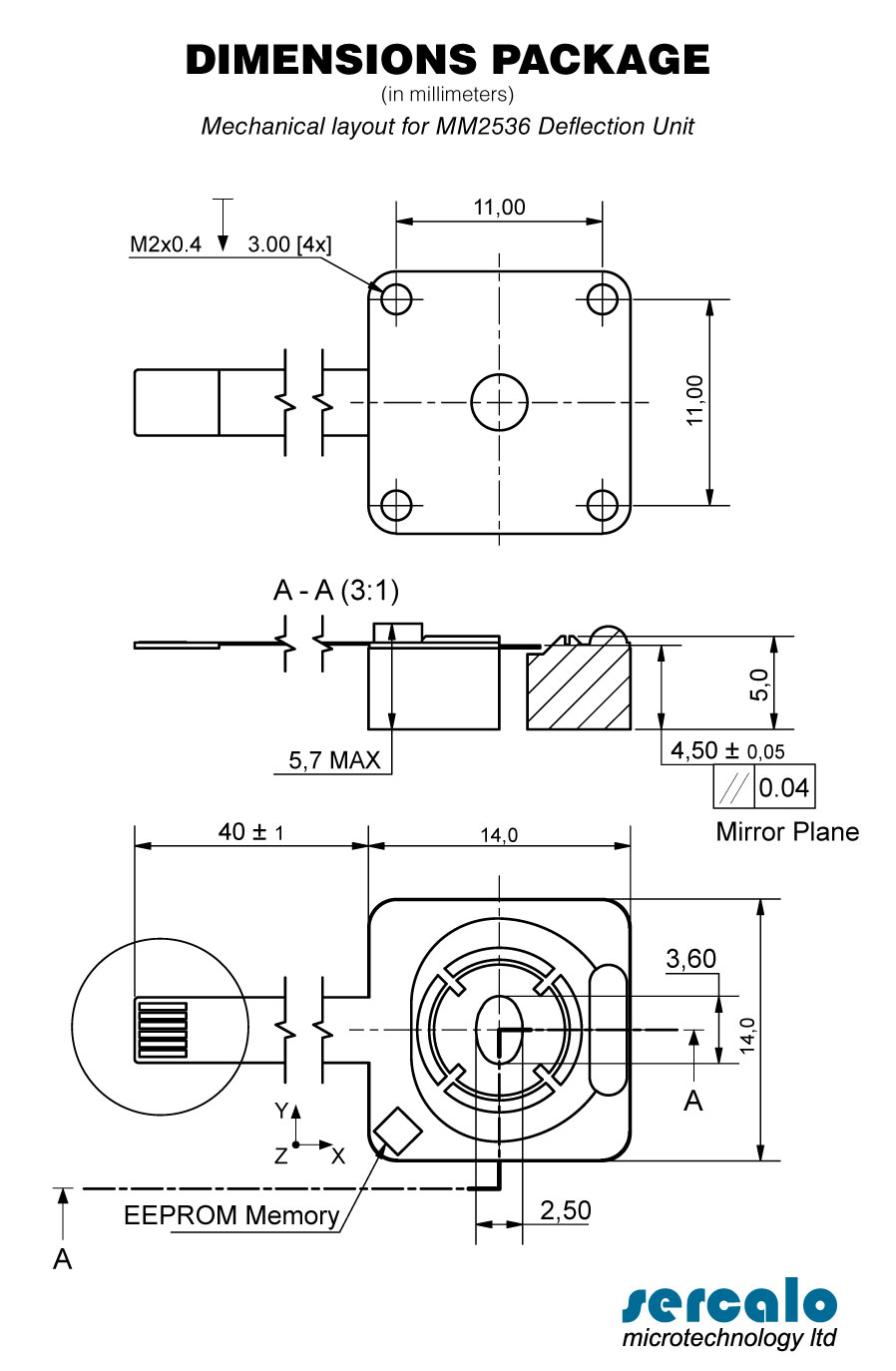 DUAL AXES DEFLECTION UNIT MM2536-2 - DIMENSIONS PACKAGE